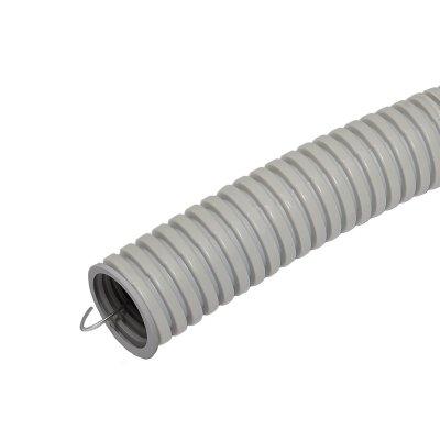Труба ПВХ гофрированная э/техническая легкого типа с зондом d=20мм IP55, серая (бухта-20п.м.)