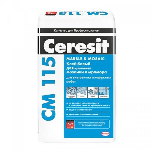 Клей для мозаики и мрамора Ceresit СМ 115, белый, 25 кг