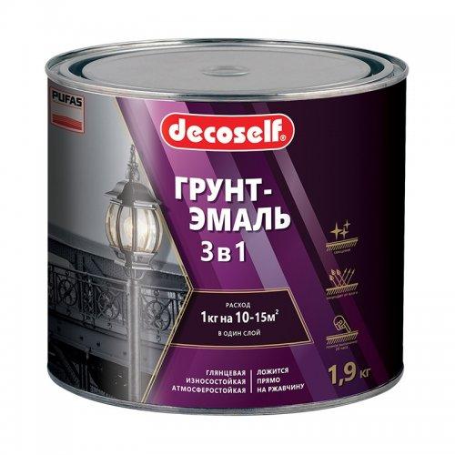 Грунт-эмаль Pufas Decoself 3 в 1 глянцевая серая (1,9 кг)