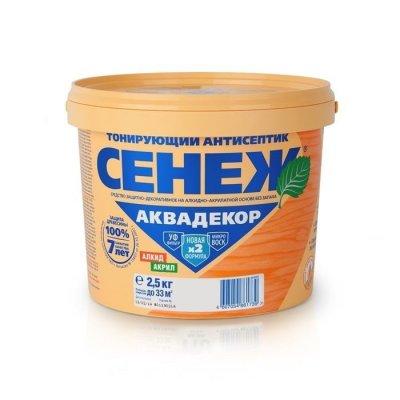 Сенеж Аквадекор орех 2,5 кг - тонирующий антисептик для дерева