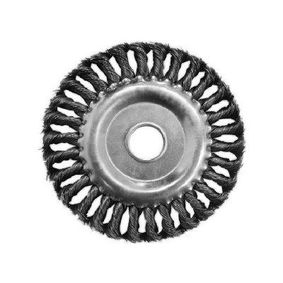 Щетка-крацовка дисковая витая 100мм, посадка отверстие 16мм