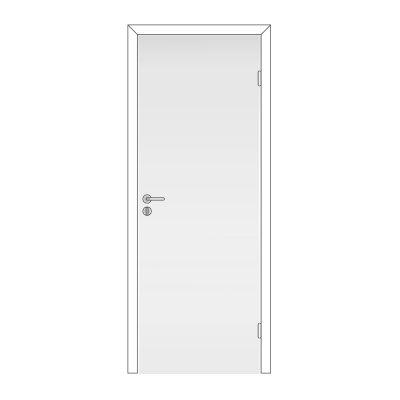 Полотно дверное Олови 600х2000 Белое, глухое, с замком 2014