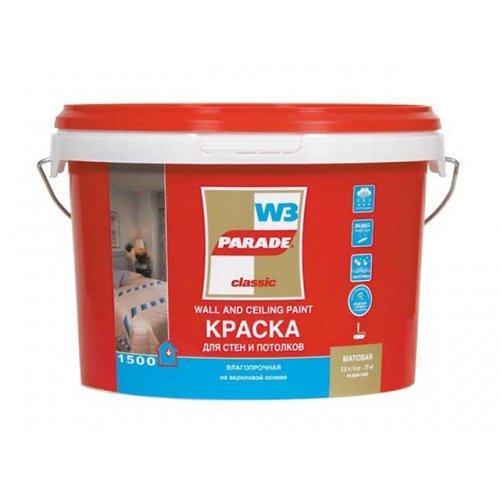 Краска PARADE W3 Интерьер белая матовая, влагостойкая 2,5л
