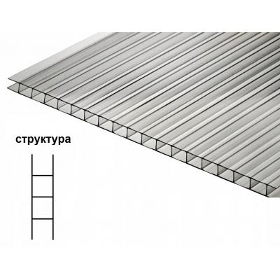 Поликарбонат сотовый прозрачный 8 мм 2100х6000 мм (0.90 кг/м2)