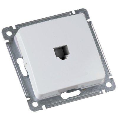 Розетка в рамку компьютерная RJ-45 кат.5е, с/у,1 гнездо, IP20, белая.